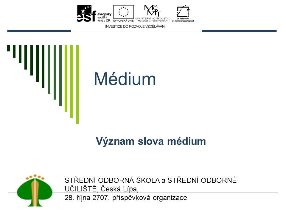 Médium Význam slova médium STŘEDNÍ ODBORNÁ ŠKOLA a STŘEDNÍ ODBORNÉ UČILIŠTĚ, Česká Lípa, 28.