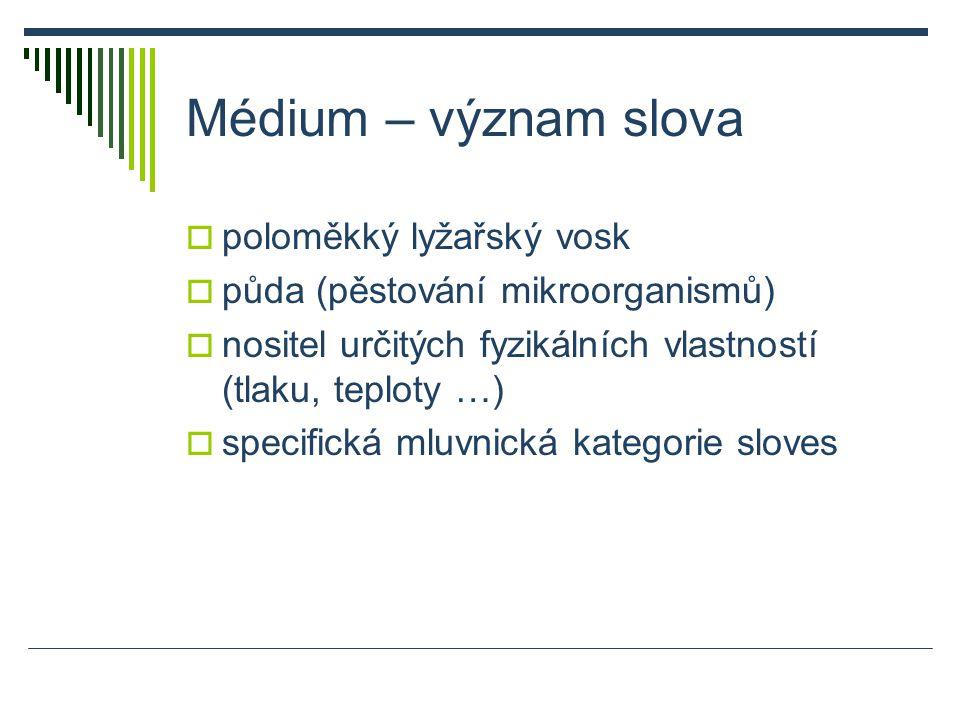 Médium – význam slova  poloměkký lyžařský vosk  půda (pěstování mikroorganismů)  nositel určitých fyzikálních vlastností (tlaku, teploty …)  specifická mluvnická kategorie sloves