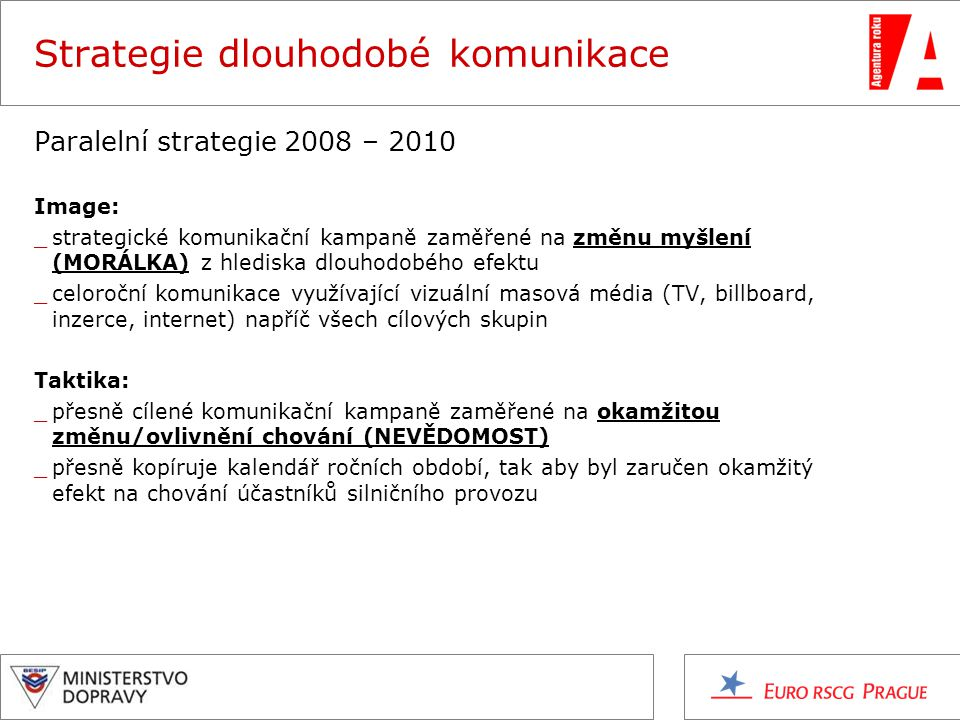 Strategie dlouhodobé komunikace Paralelní strategie 2008 – 2010 Image: _strategické komunikační kampaně zaměřené na změnu myšlení (MORÁLKA) z hlediska