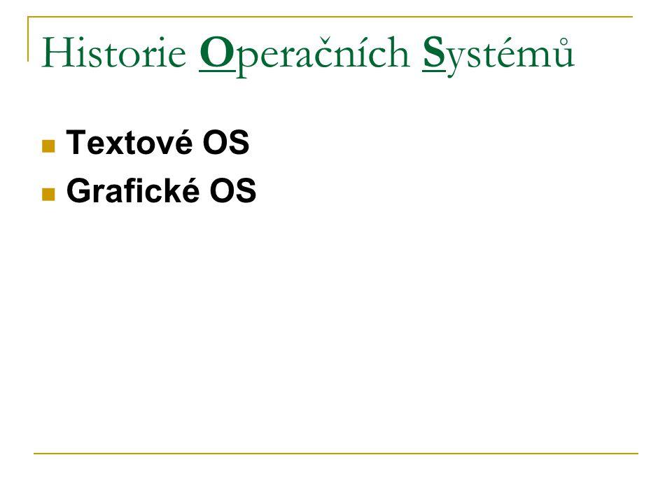 Historie Operačních Systémů Textové OS Grafické OS