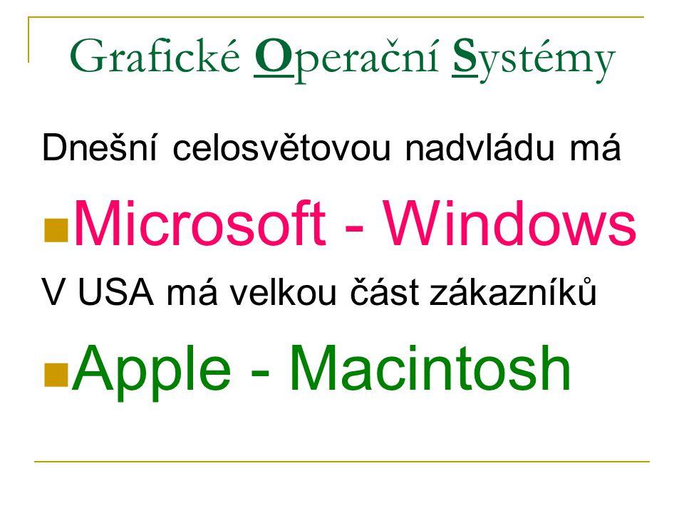 Grafické Operační Systémy Dnešní celosvětovou nadvládu má Microsoft - Windows V USA má velkou část zákazníků Apple - Macintosh