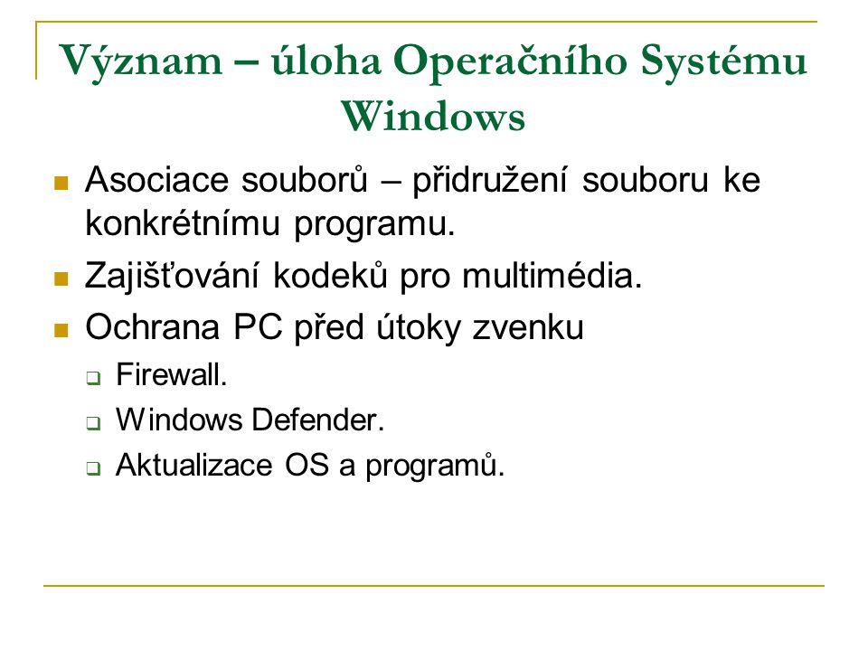 Význam – úloha Operačního Systému Windows Asociace souborů – přidružení souboru ke konkrétnímu programu. Zajišťování kodeků pro multimédia. Ochrana PC