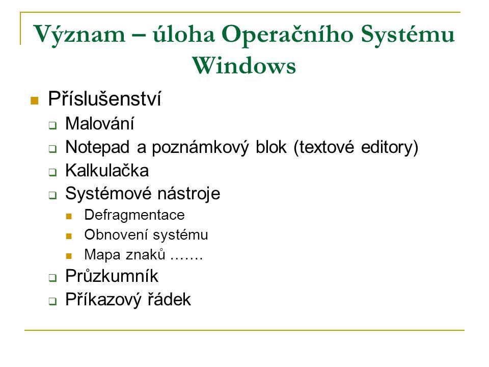 Význam – úloha Operačního Systému Windows Příslušenství  Malování  Notepad a poznámkový blok (textové editory)  Kalkulačka  Systémové nástroje Defragmentace Obnovení systému Mapa znaků …….