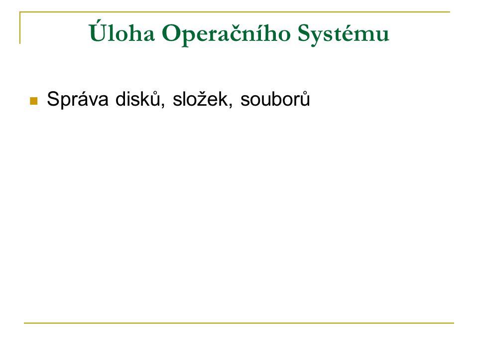 Úloha Operačního Systému Správa disků, složek, souborů