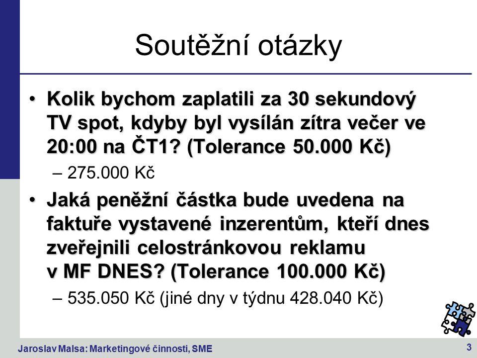 Jaroslav Malsa: Marketingové činnosti, SME 3 Soutěžní otázky Kolik bychom zaplatili za 30 sekundový TV spot, kdyby byl vysílán zítra večer ve 20:00 na ČT1.