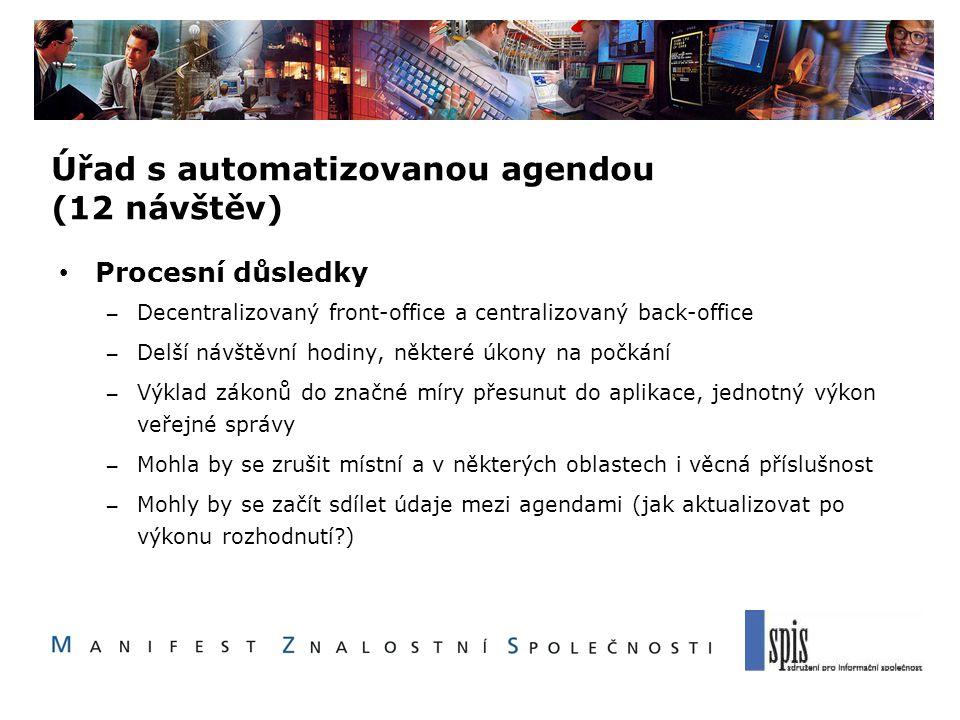 Úřad s automatizovanou agendou (12 návštěv) Procesní důsledky – Decentralizovaný front-office a centralizovaný back-office – Delší návštěvní hodiny, n