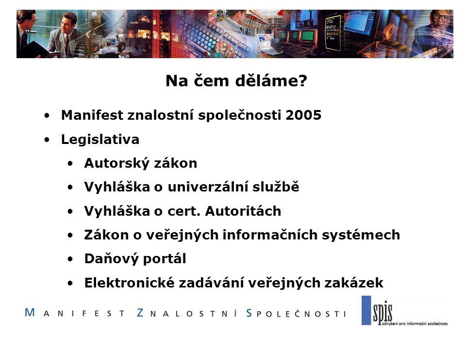 Na čem děláme? Manifest znalostní společnosti 2005 Legislativa Autorský zákon Vyhláška o univerzální službě Vyhláška o cert. Autoritách Zákon o veřejn