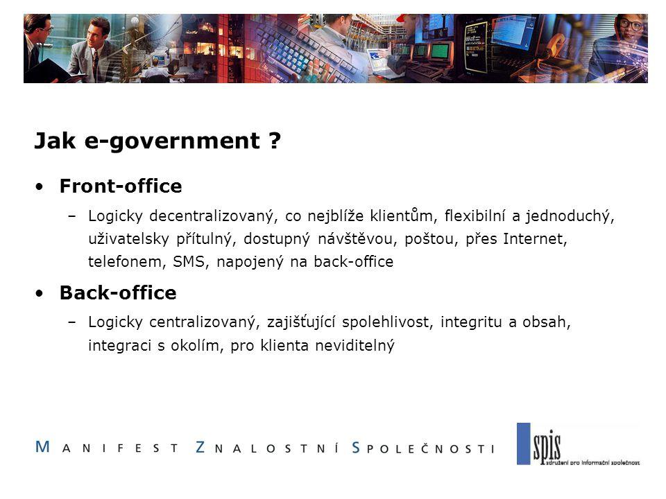 Jak e-government ? Front-office –Logicky decentralizovaný, co nejblíže klientům, flexibilní a jednoduchý, uživatelsky přítulný, dostupný návštěvou, po
