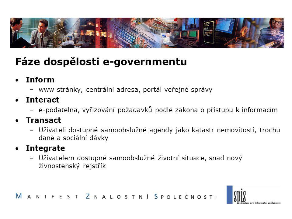Fáze dospělosti e-governmentu Inform –www stránky, centrální adresa, portál veřejné správy Interact –e-podatelna, vyřizování požadavků podle zákona o