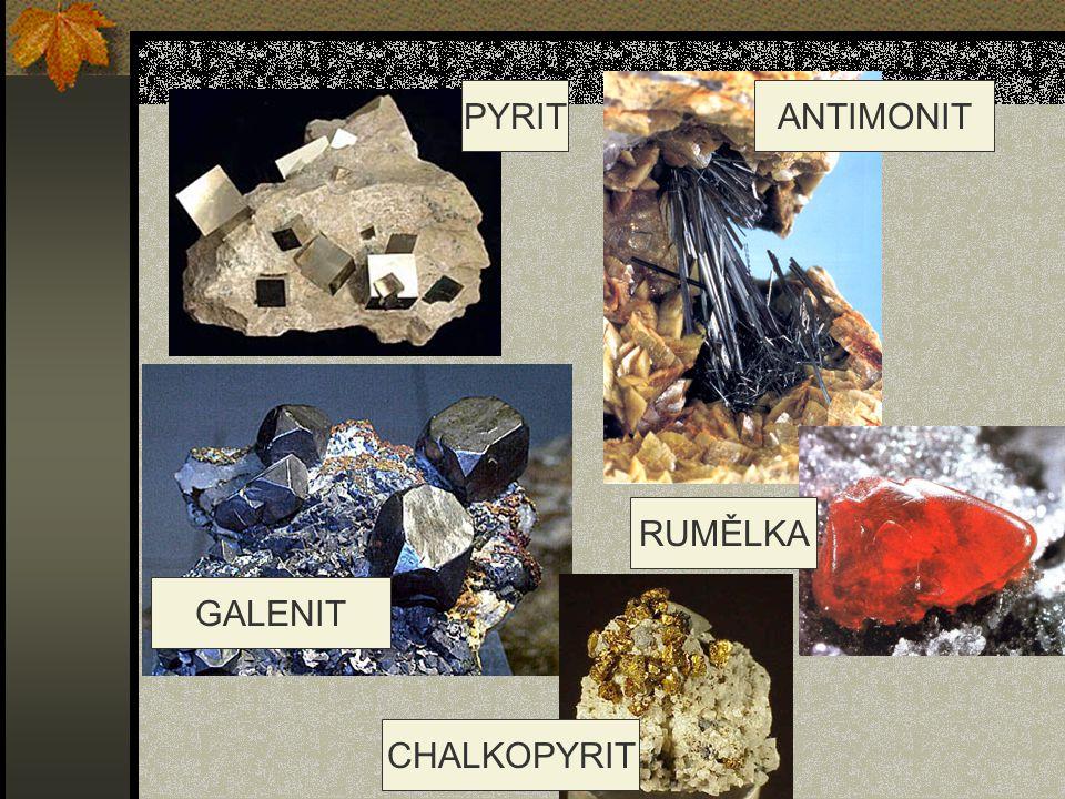PYRITANTIMONIT GALENIT RUMĚLKA CHALKOPYRIT