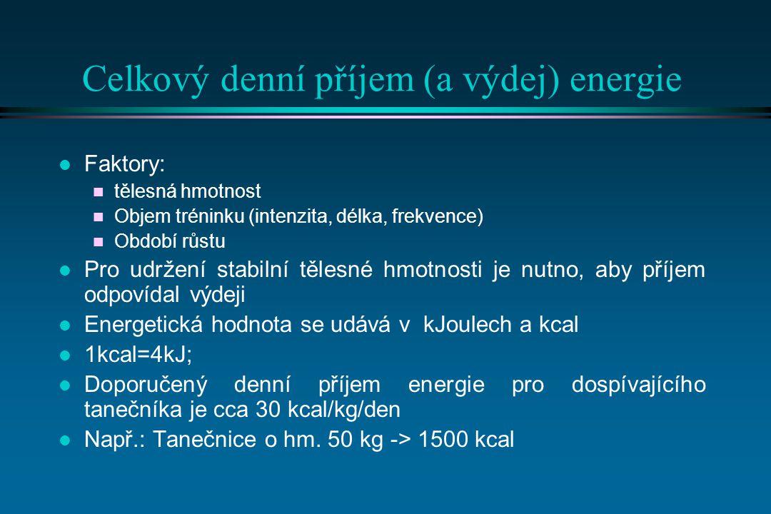 Celkový denní příjem (a výdej) energie l Faktory: n tělesná hmotnost n Objem tréninku (intenzita, délka, frekvence) n Období růstu l Pro udržení stabilní tělesné hmotnosti je nutno, aby příjem odpovídal výdeji l Energetická hodnota se udává v kJoulech a kcal l 1kcal=4kJ; l Doporučený denní příjem energie pro dospívajícího tanečníka je cca 30 kcal/kg/den l Např.: Tanečnice o hm.