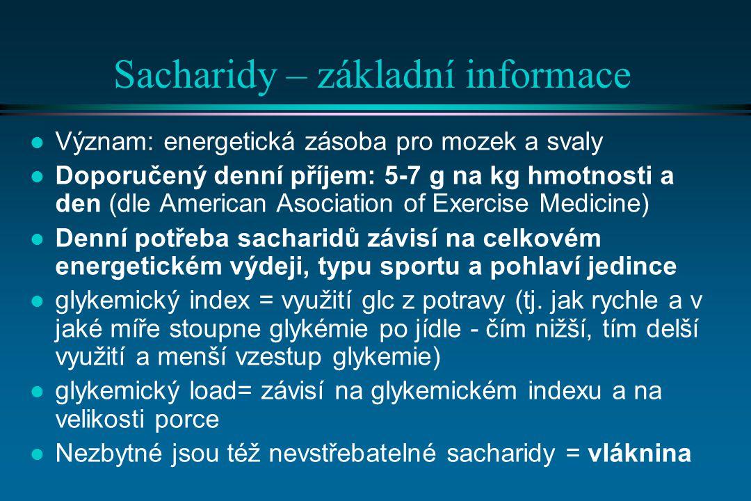 Sacharidy – základní informace l Význam: energetická zásoba pro mozek a svaly l Doporučený denní příjem: 5-7 g na kg hmotnosti a den (dle American Asociation of Exercise Medicine) l Denní potřeba sacharidů závisí na celkovém energetickém výdeji, typu sportu a pohlaví jedince l glykemický index = využití glc z potravy (tj.