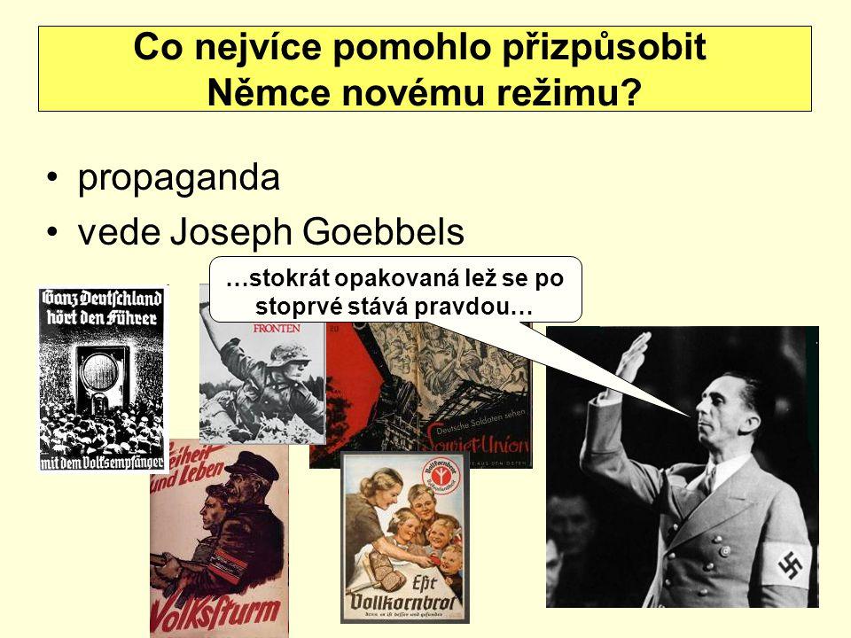 propaganda vede Joseph Goebbels Co nejvíce pomohlo přizpůsobit Němce novému režimu? …stokrát opakovaná lež se po stoprvé stává pravdou…