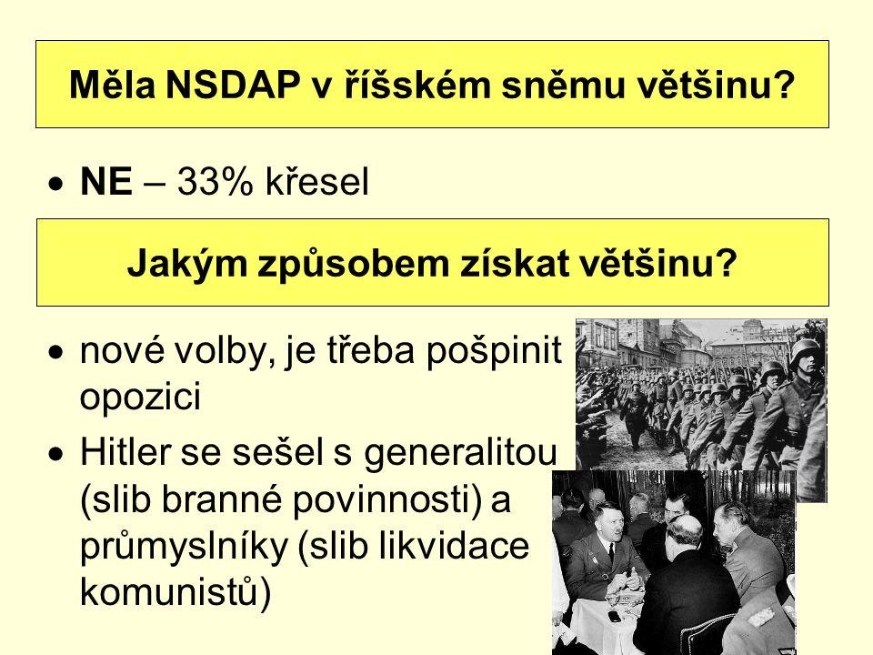  NE – 33% křesel  nové volby, je třeba pošpinit opozici  Hitler se sešel s generalitou (slib branné povinnosti) a průmyslníky (slib likvidace komun