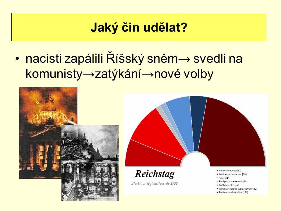 nacisti zapálili Říšský sněm→ svedli na komunisty→zatýkání→nové volby Jaký čin udělat?