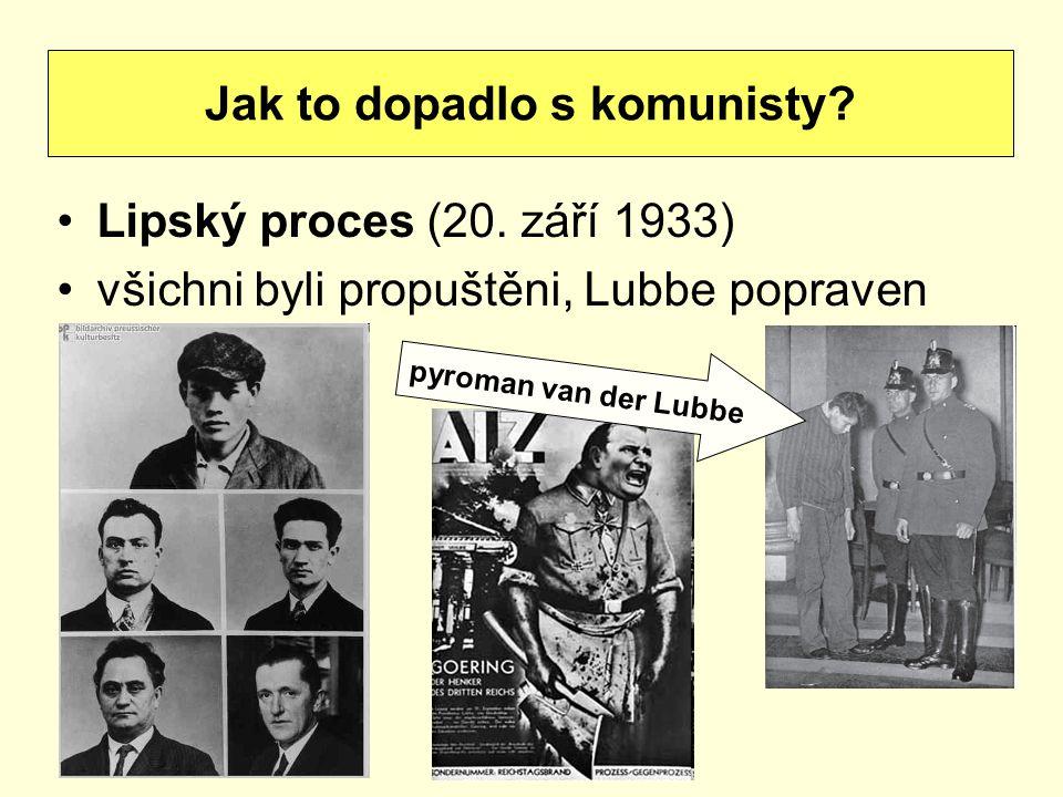 Lipský proces (20. září 1933) všichni byli propuštěni, Lubbe popraven Jak to dopadlo s komunisty? pyroman van der Lubbe