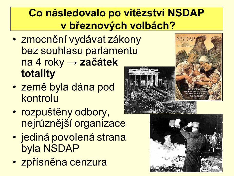 zmocnění vydávat zákony bez souhlasu parlamentu na 4 roky → začátek totality země byla dána pod kontrolu rozpuštěny odbory, nejrůznější organizace jed