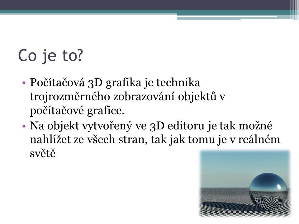Zdroje http://www.tutoriarts.cz/zaciname-s-cinema-4d-uvod-do-3d-grafiky-a-zakladni-pojmy-1159 http://en.wikipedia.org/wiki/3D_modeling Obrázky: Obr.1: http://wallfon.com/download.php?id=79http://wallfon.com/download.php?id=79 Obr.2: http://www.mathworks.com/help/matlab/ref/hgtransform2.gifhttp://www.mathworks.com/help/matlab/ref/hgtransform2.gif Obr.3: http://4.bp.blogspot.com/-0w_QuIE-Pdc/UMHeGfdU8fI/AAAAAAAAADM/x4OsZ7dmU5E/s1600/Far-Cry-3- hangglider.jpghttp://4.bp.blogspot.com/-0w_QuIE-Pdc/UMHeGfdU8fI/AAAAAAAAADM/x4OsZ7dmU5E/s1600/Far-Cry-3- hangglider.jpg Obr.4: http://www.hdwallpapers.in/walls/avatar_special_edition-wide.jpghttp://www.hdwallpapers.in/walls/avatar_special_edition-wide.jpg Obr.5: http://st3.flashrolls.net/wallpaper/d29/a9ec99c344f52d449caafa9d12de5c69.jpghttp://st3.flashrolls.net/wallpaper/d29/a9ec99c344f52d449caafa9d12de5c69.jpg Obr.6: http://www.maverick-mj.com/img/09_des.jpghttp://www.maverick-mj.com/img/09_des.jpg Obr.7: http://edudemic.com/wp-content/uploads/2013/02/3d-printing-schools.pnghttp://edudemic.com/wp-content/uploads/2013/02/3d-printing-schools.png Obr.8: http://susers.thatsmyface.com/a/anikas/Hugh_Laurie_fg_ENzvqCouSh.fg.front_b7049815.jpghttp://susers.thatsmyface.com/a/anikas/Hugh_Laurie_fg_ENzvqCouSh.fg.front_b7049815.jpg LOGA: Cinema 4D (Maxon) 3Ds Max (Autodesk) Rhinoceros 3d (Robert McNeel & Associates) Blender (Blender Foundation) SketchUP (Trimble Navigation) Wings 3D (Björn Gustavsson)