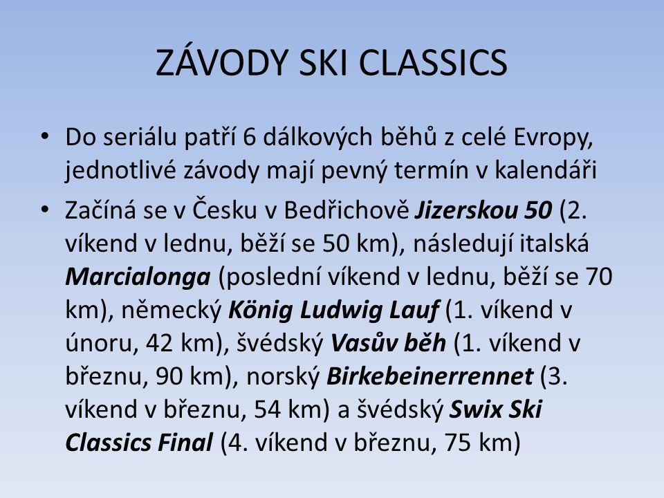 ZÁVODY SKI CLASSICS Do seriálu patří 6 dálkových běhů z celé Evropy, jednotlivé závody mají pevný termín v kalendáři Začíná se v Česku v Bedřichově Ji