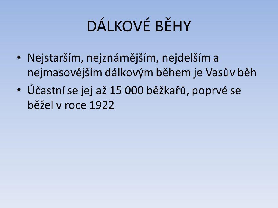 DÁLKOVÉ BĚHY Nejstarším, nejznámějším, nejdelším a nejmasovějším dálkovým během je Vasův běh Účastní se jej až 15 000 běžkařů, poprvé se běžel v roce