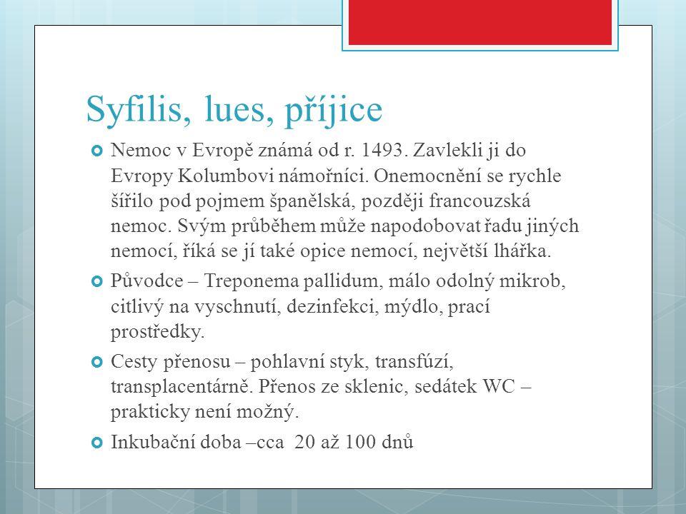 Syfilis, lues, příjice  Nemoc v Evropě známá od r. 1493. Zavlekli ji do Evropy Kolumbovi námořníci. Onemocnění se rychle šířilo pod pojmem španělská,