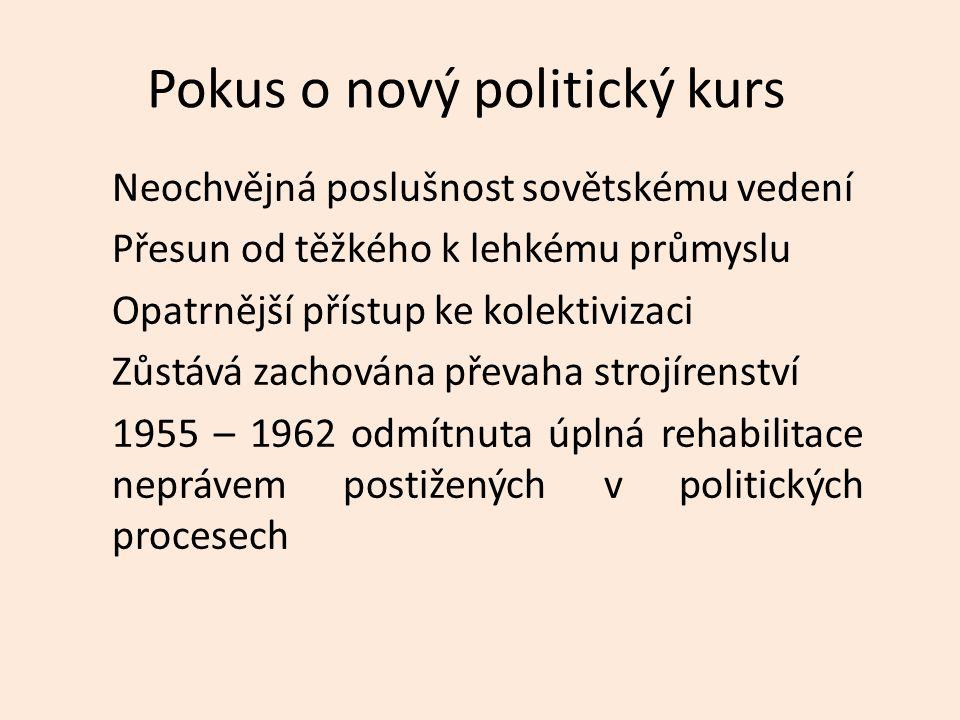Pokus o nový politický kurs Neochvějná poslušnost sovětskému vedení Přesun od těžkého k lehkému průmyslu Opatrnější přístup ke kolektivizaci Zůstává zachována převaha strojírenství 1955 – 1962 odmítnuta úplná rehabilitace neprávem postižených v politických procesech