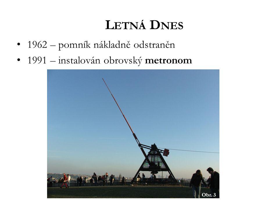 1962 – pomník nákladně odstraněn 1991 – instalován obrovský metronom L ETNÁ D NES Obr. 3