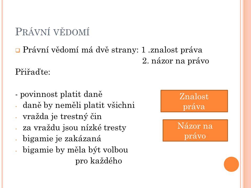 P RÁVNÍ VĚDOMÍ  Stav společnosti, který je v souladu s právem, označujeme jako (legalita)  Jaký je vztah mezi morálními hodnotami a právem.