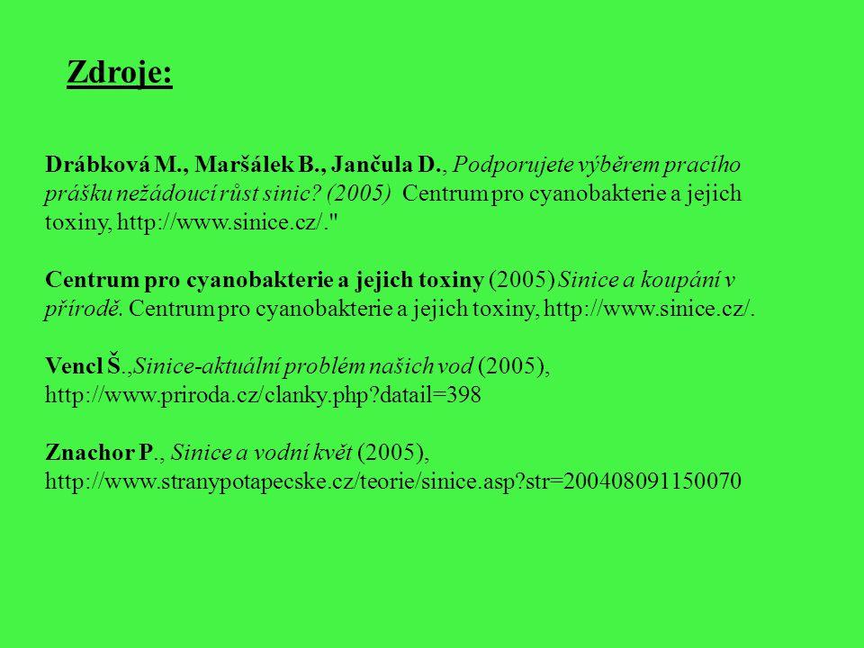 Zdroje: Drábková M., Maršálek B., Jančula D., Podporujete výběrem pracího prášku nežádoucí růst sinic? (2005) Centrum pro cyanobakterie a jejich toxin