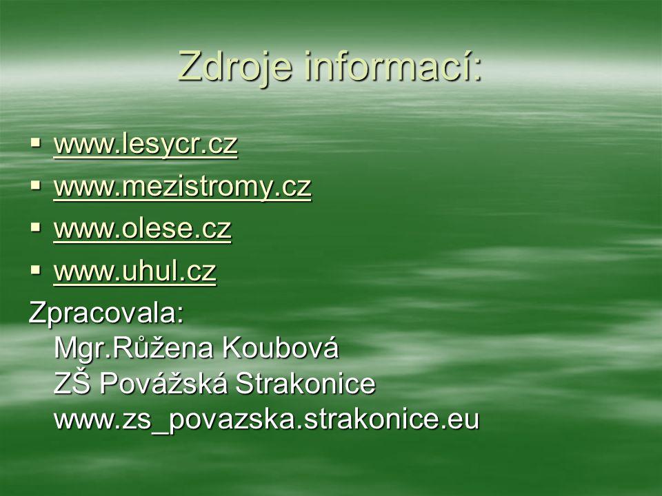 Zdroje informací:  www.lesycr.cz www.lesycr.cz  www.mezistromy.cz www.mezistromy.cz  www.olese.cz www.olese.cz  www.uhul.cz www.uhul.cz Zpracovala: Mgr.Růžena Koubová ZŠ Povážská Strakonice www.zs_povazska.strakonice.eu