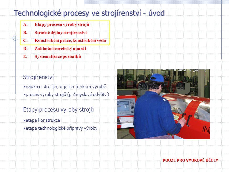 Technologické procesy ve strojírenství - úvod POUZE PRO VÝUKOVÉ ÚČELY Strojírenství nauka o strojích, o jejich funkci a výrobě proces výroby strojů (p