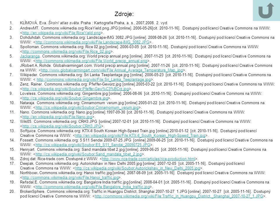 Zdroje: 1.KLÍMOVÁ, Eva. Školní atlas světa. Praha : Kartografie Praha, a. s., 2007,2008. 2. vyd. 2.AndrewMT. Commons.wikimedia.org:RiceYield.png.JPG [