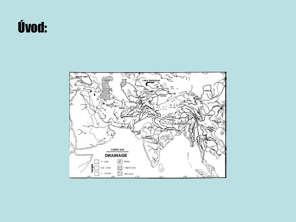 -kenozoikum: terciér + kvartér (65mil – současnost) -terciér: - Indo-asijská kolize » Himaláje, Tibetská plošina » obrovské změny klimatických a odtokových poměrů ► Vývoj říčního systému v této oblasti je dán příčnými a vertikálními pohyby modifikovanými erozí, klimatickými změnami a říčním pirátstvím.
