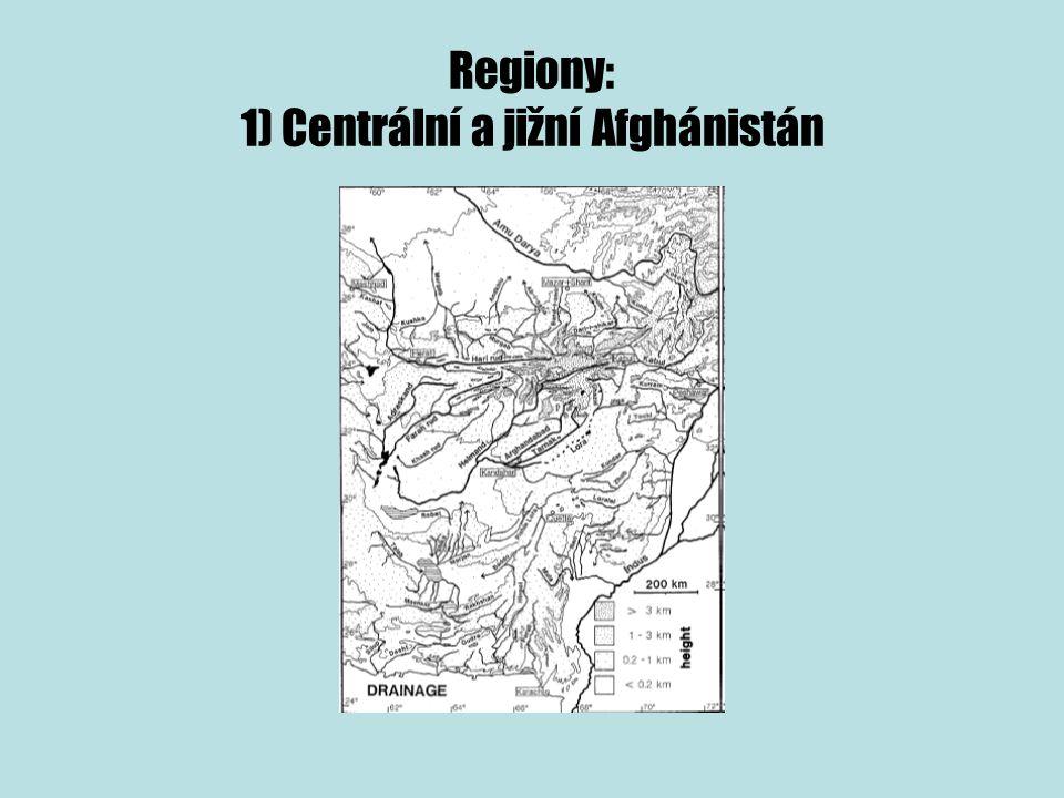 Regiony: 1) Centrální a jižní Afghánistán