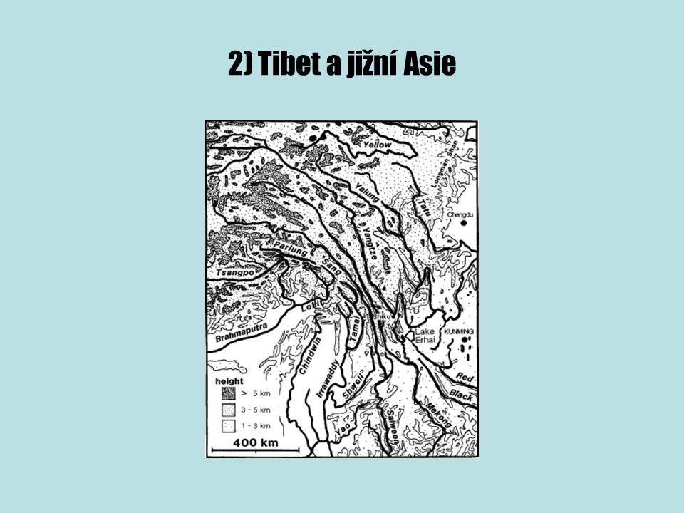 ► tři největší řeky JV Asie- Yangtze, Mekong a Salween pramení v Tibetské náhorní plošině, dále pokračují jihovýchodně a tečou paralelně v hluboce zaříznutých údolích a následně se rozdělují do jiných moří ► všechny tečou paralelně při okraji desky a pak se rozbíhají po komplikovaných tratích, jejichž tvar je řízen zlomy a říčním pirátstvím v nestabilním spojení mezi Indick ou, Jihočínsk ou a Indočínsk ou krou ► toky s velkými gradienty- v případě Yangtze a Mekongu- příčné zlomy způsobily náhlé změny v říčních gradientech a související zpětnou erozi
