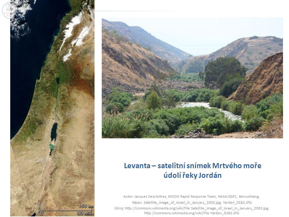 Levanta – satelitní snímek Mrtvého moře údolí řeky Jordán Autor: Jacques Descloitres, MODIS Rapid Response Team, NASA/GSFC, Beivushtang, Název: Satell