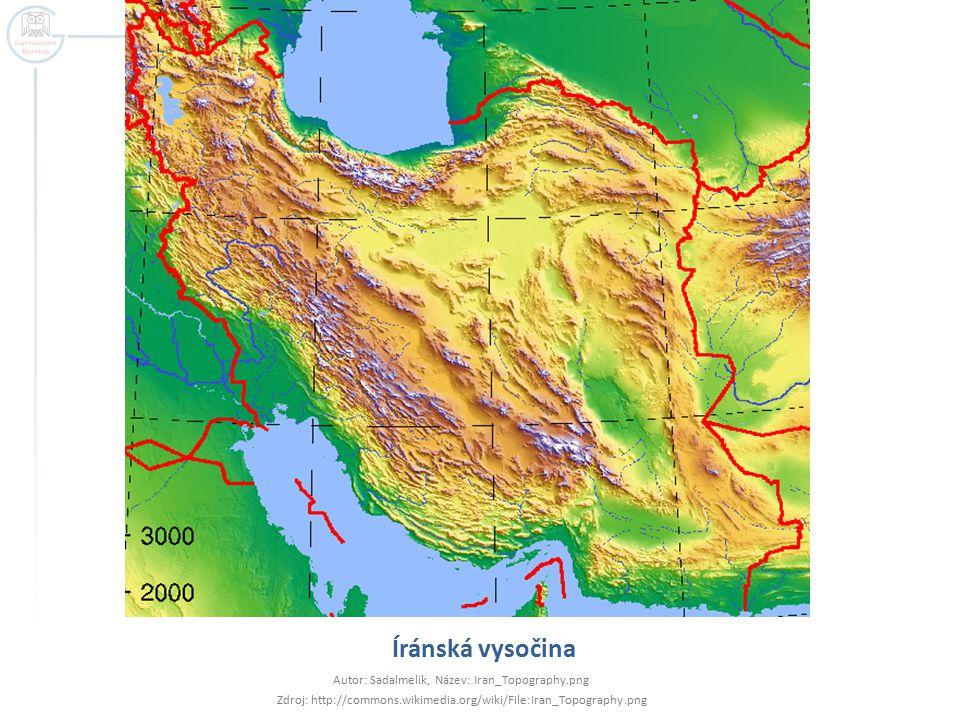 Íránská vysočina Autor: Sadalmelik, Název: Iran_Topography.png Zdroj: http://commons.wikimedia.org/wiki/File:Iran_Topography.png