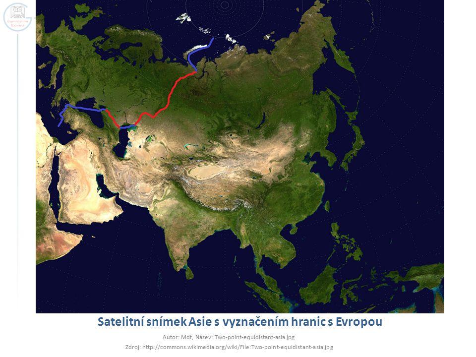 Satelitní snímek Asie s vyznačením hranic s Evropou Autor: Mdf, Název: Two-point-equidistant-asia.jpg Zdroj: http://commons.wikimedia.org/wiki/File:Tw