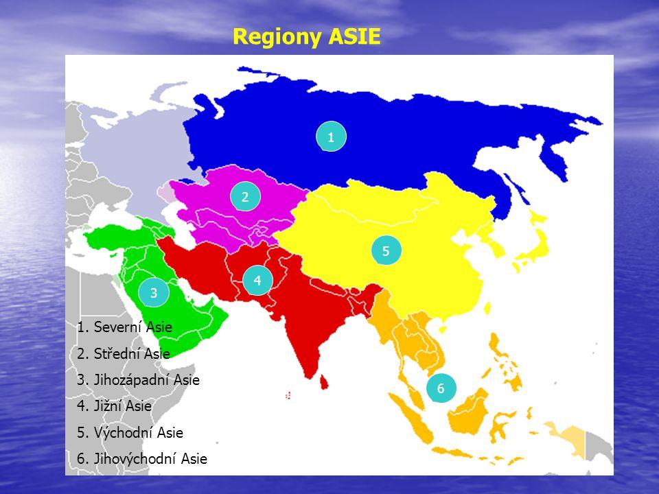 Regiony ASIE 2 6 5 4 3 1 1. Severní Asie 2. Střední Asie 3. Jihozápadní Asie 4. Jižní Asie 5. Východní Asie 6. Jihovýchodní Asie