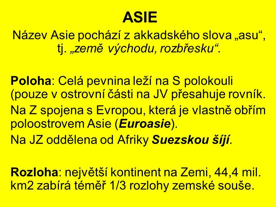 """ASIE Název Asie pochází z akkadského slova """"asu"""", tj. """"země východu, rozbřesku"""". Poloha: Celá pevnina leží na S polokouli (pouze v ostrovní části na J"""