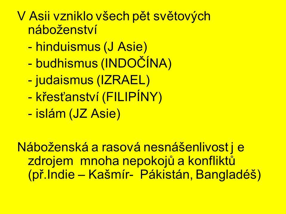 V Asii vzniklo všech pět světových náboženství - hinduismus (J Asie) - budhismus (INDOČÍNA) - judaismus (IZRAEL) - křesťanství (FILIPÍNY) - islám (JZ