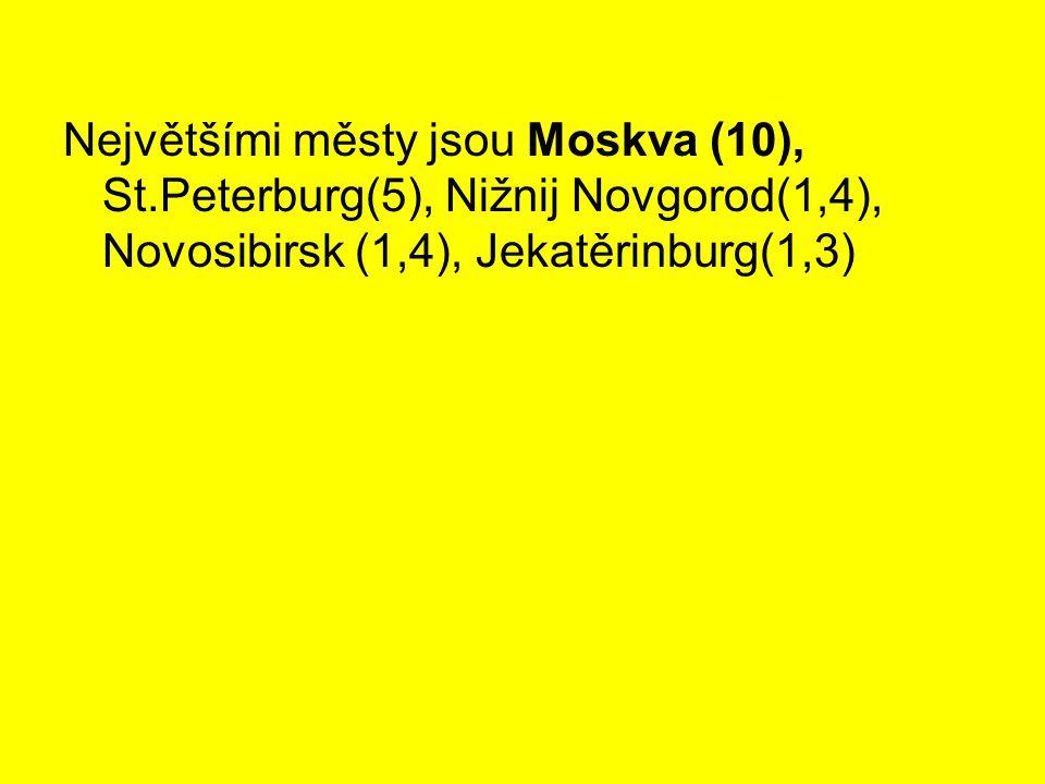 Největšími městy jsou Moskva (10), St.Peterburg(5), Nižnij Novgorod(1,4), Novosibirsk (1,4), Jekatěrinburg(1,3)