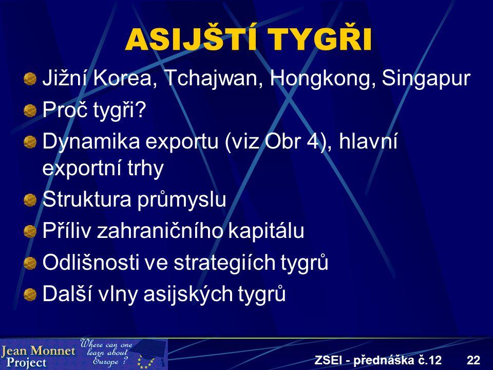 ZSEI - přednáška č.1222 ASIJŠTÍ TYGŘI Jižní Korea, Tchajwan, Hongkong, Singapur Proč tygři? Dynamika exportu (viz Obr 4), hlavní exportní trhy Struktu