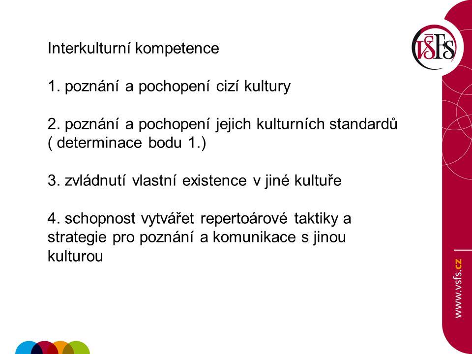 Interkulturní kompetence 1. poznání a pochopení cizí kultury 2. poznání a pochopení jejich kulturních standardů ( determinace bodu 1.) 3. zvládnutí vl