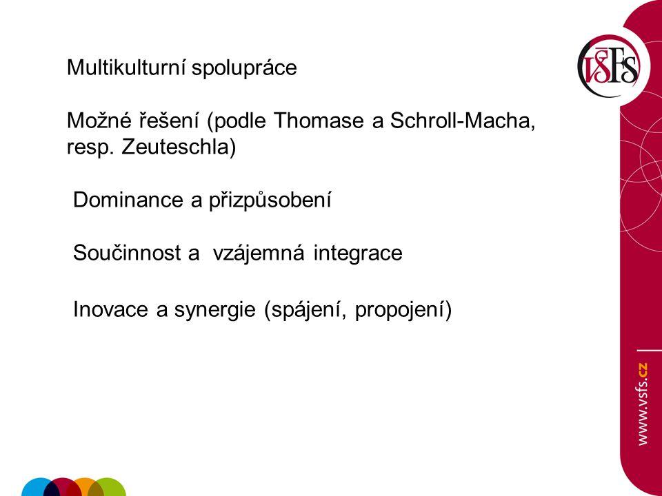 Multikulturní spolupráce Možné řešení (podle Thomase a Schroll-Macha, resp. Zeuteschla) Dominance a přizpůsobení Součinnost a vzájemná integrace Inova