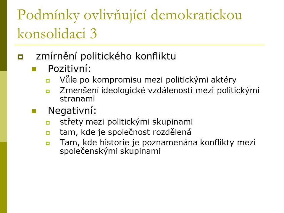 Podmínky ovlivňující demokratickou konsolidaci 3  zmírnění politického konfliktu Pozitivní:  Vůle po kompromisu mezi politickými aktéry  Zmenšení i