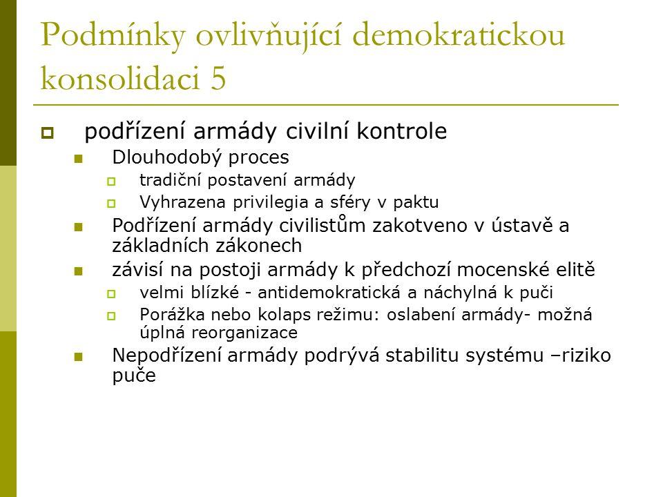 Podmínky ovlivňující demokratickou konsolidaci 5  podřízení armády civilní kontrole Dlouhodobý proces  tradiční postavení armády  Vyhrazena privile