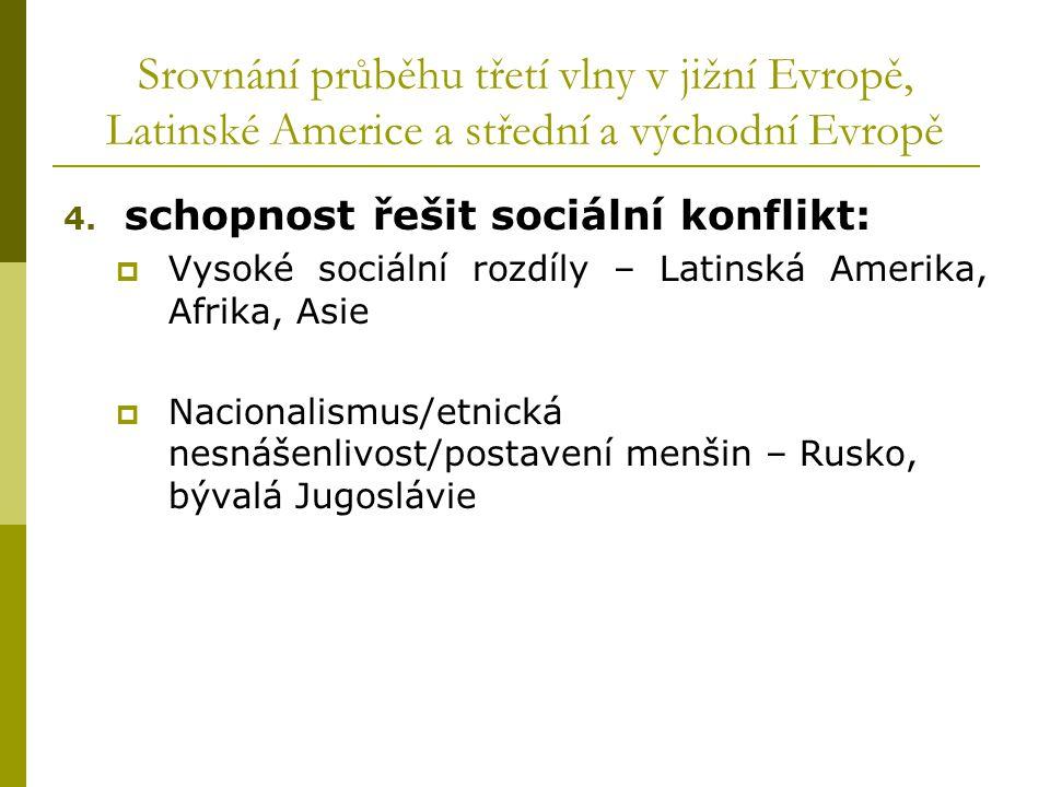 Srovnání průběhu třetí vlny v jižní Evropě, Latinské Americe a střední a východní Evropě 4. schopnost řešit sociální konflikt:  Vysoké sociální rozdí
