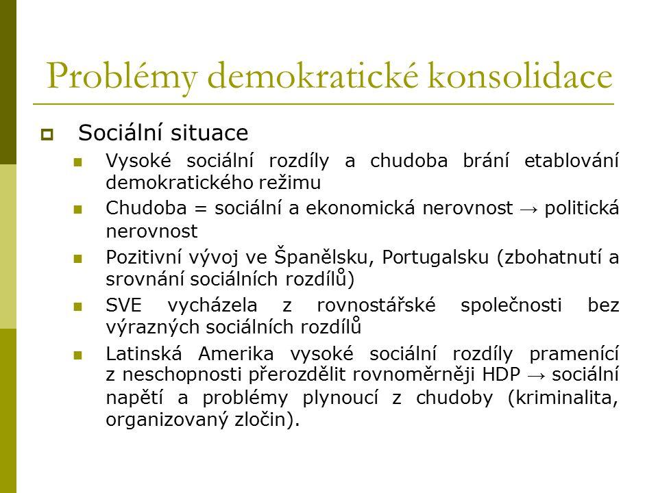 Problémy demokratické konsolidace  Sociální situace Vysoké sociální rozdíly a chudoba brání etablování demokratického režimu Chudoba = sociální a eko