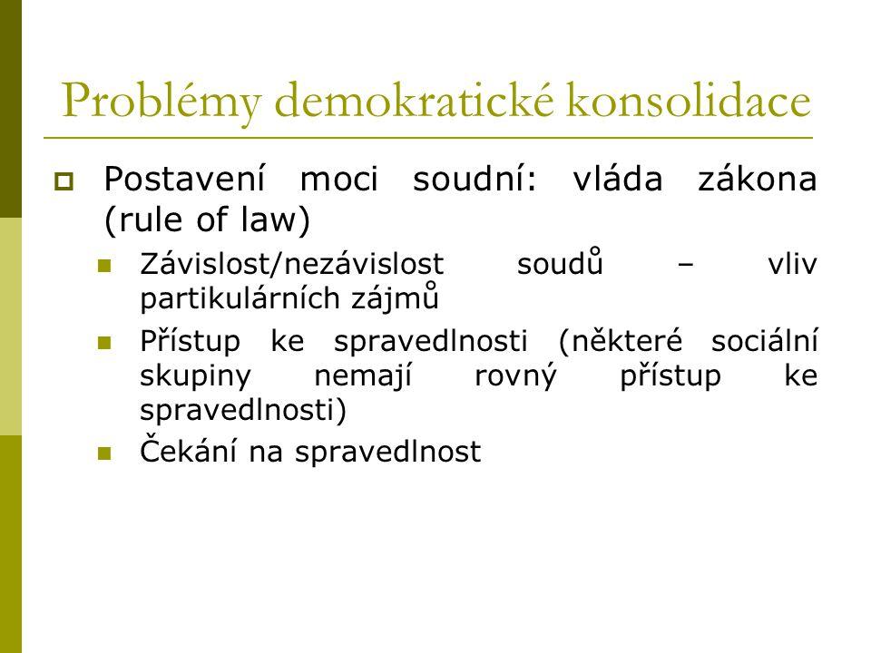 Problémy demokratické konsolidace  Postavení moci soudní: vláda zákona (rule of law) Závislost/nezávislost soudů – vliv partikulárních zájmů Přístup